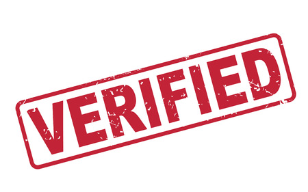 verified: stamp verified with red text over white background