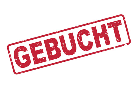 entered: stamp with red german text gebucht on white. translate booked