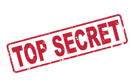 stamp top secret with red text over white background Illustration