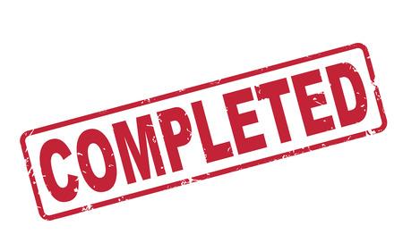 completato: timbro completato con il testo rosso su sfondo bianco Vettoriali
