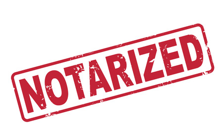 stamp notarized with red text over white background