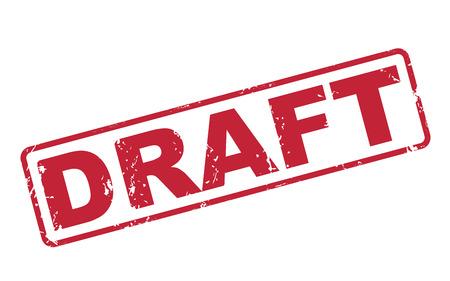 흰색 배경 위에 빨간색 텍스트로 초안을 스탬프 일러스트