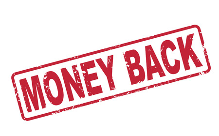 assure: stamp money back with red text over white background Illustration