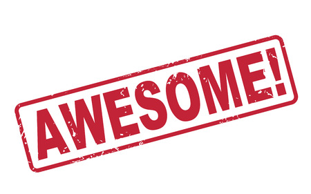stamp awesome with red text over white background Vector