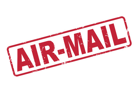 airmail: stamp air-mail with red text over white background