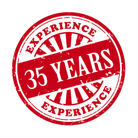 35 years: illustration of grunge rubber stamp with the text 35 years experience written inside Illustration