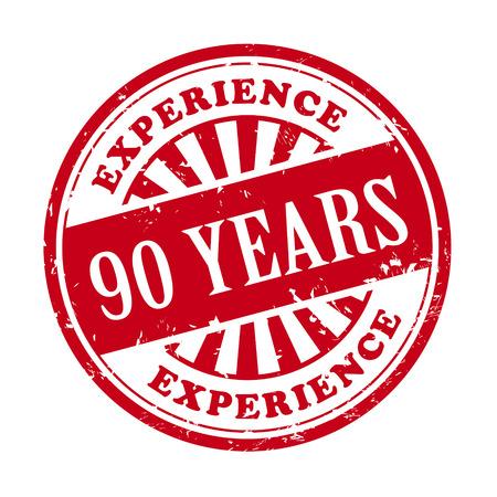 90 years: illustrazione di timbro di gomma grunge con il testo di 90 anni di esperienza scritto all'interno
