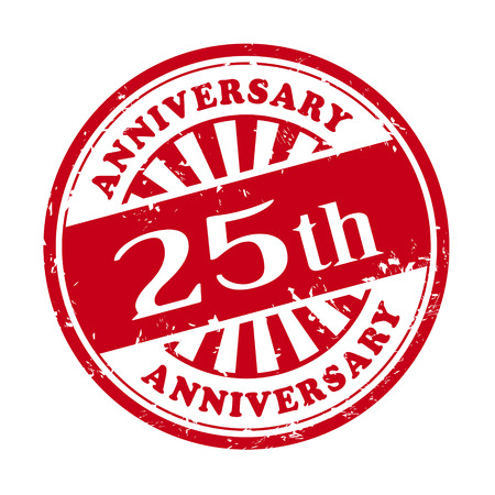 25th: illustration of grunge rubber stamp with the text 25th anniversary written inside Illustration