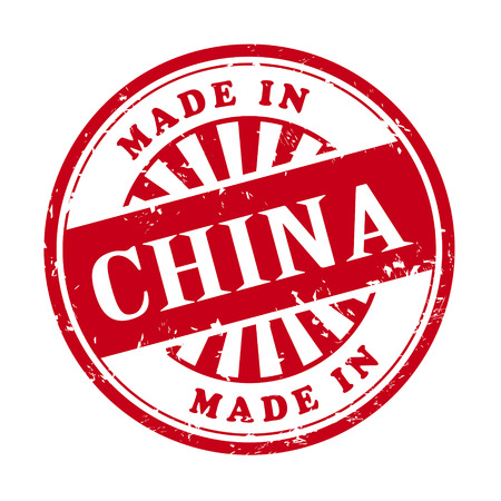 illustration of grunge rubber stamp with the text made in China written inside