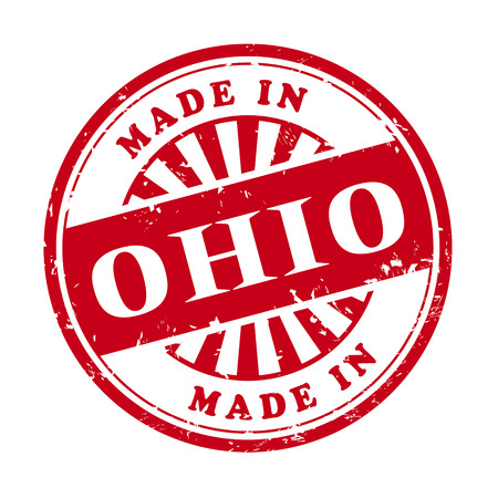 illustration of grunge rubber stamp with the text made in Ohio written inside Vector
