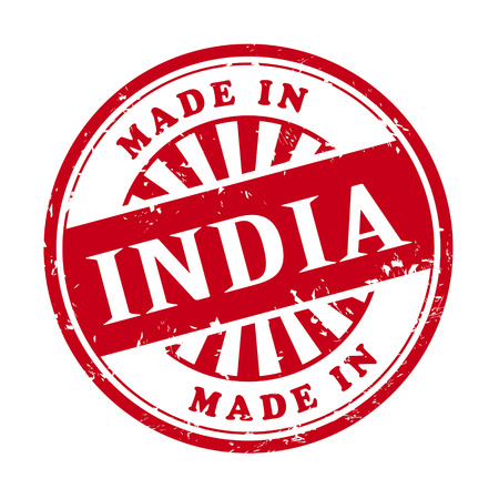 illustration of grunge rubber stamp with the text made in India written inside Vector