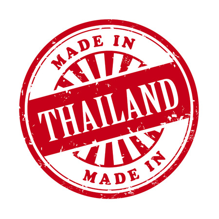 illustration of grunge rubber stamp with the text made in Thailand written inside Illustration