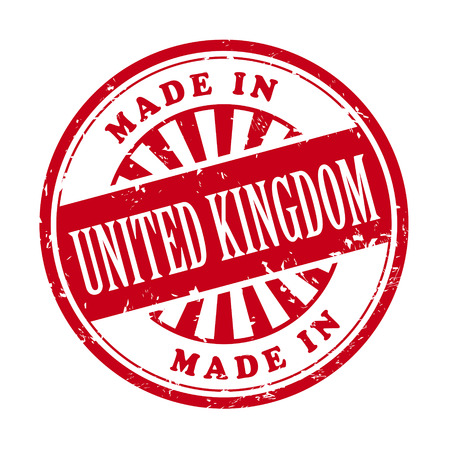 illustration of grunge rubber stamp with the text made in United Kingdom written inside Vector