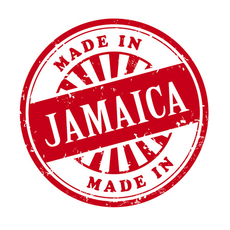 illustration of grunge rubber stamp with the text made in Jamaica written inside Vector