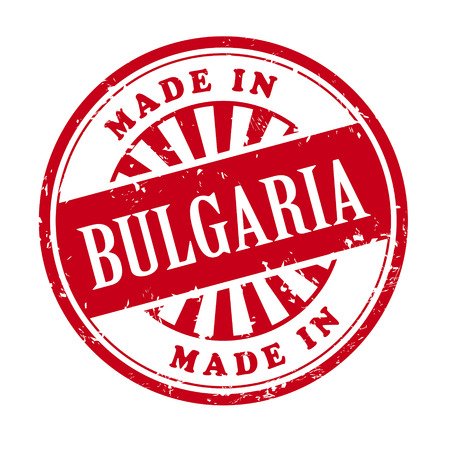 produced: illustration of grunge rubber stamp with the text made in Bulgaria written inside