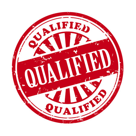 qualified: illustration of grunge rubber stamp with the text qualified written inside Illustration