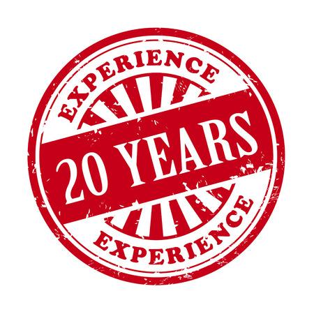 경험: 텍스트 20 년 경험을 가진 그런 지 고무 스탬프의 그림 안에 작성