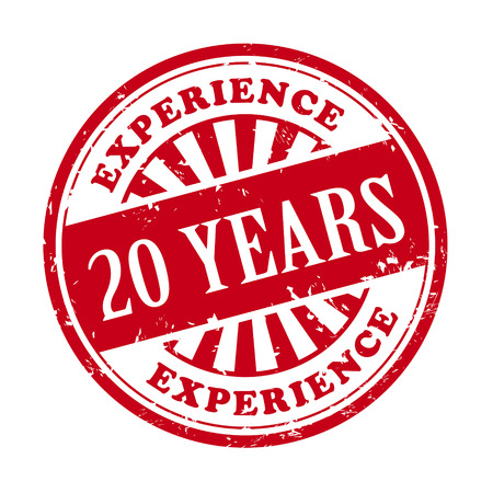20 years: illustration of grunge rubber stamp with the text 20 years experience written inside