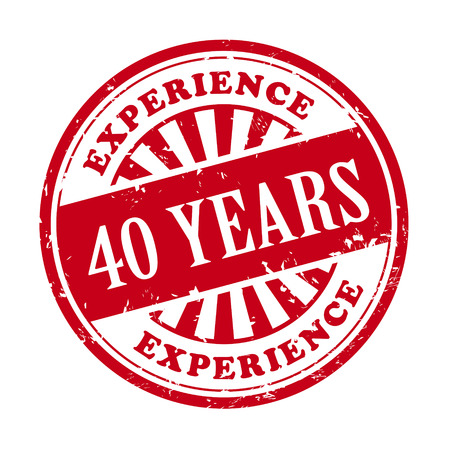 内に記述されたテキスト 40 年の経験とグランジ ゴム印のイラスト