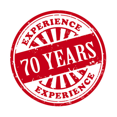 70 years: illustration of grunge rubber stamp with the text 70 years experience written inside