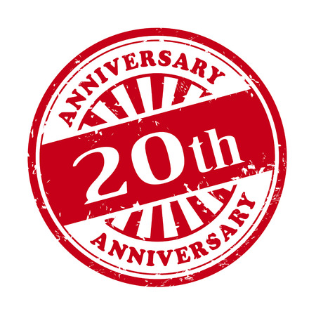 illustration of grunge rubber stamp with the text 20th anniversary written inside Vector