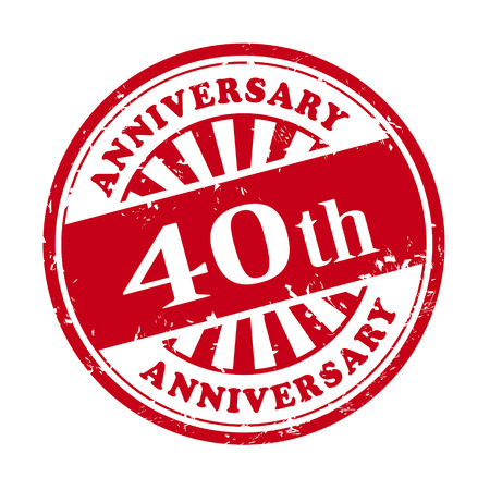 40th: illustration of grunge rubber stamp with the text 40th anniversary written inside Illustration