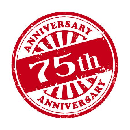 illustratie van grunge rubber stempel met de tekst 75ste verjaardag geschreven binnen