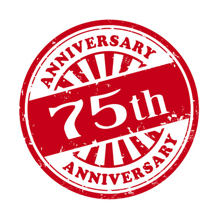 illustration of grunge rubber stamp with the text 75th anniversary written inside