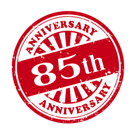 illustration of grunge rubber stamp with the text 85th anniversary written inside Vector