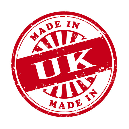 illustration of grunge rubber stamp with the text made in UK written inside Vector