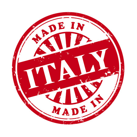 illustration of grunge rubber stamp with the text made in Italy written inside Vector