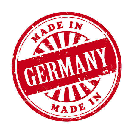 illustration of grunge rubber stamp with the text made in Germany written inside Vector