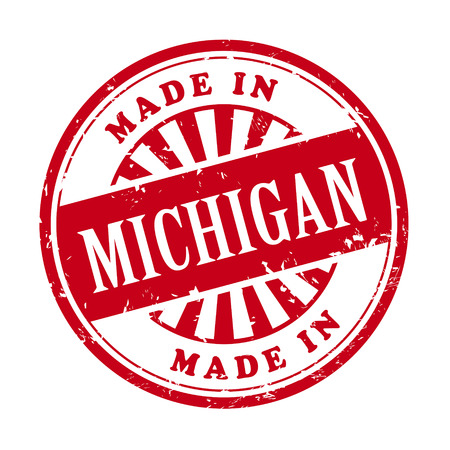 illustration of grunge rubber stamp with the text made in Michigan written inside