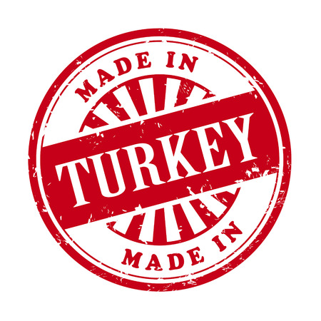 illustration of grunge rubber stamp with the text made in Turkey written inside Vector