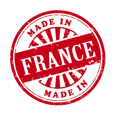 produced: illustration of grunge rubber stamp with the text made in France written inside