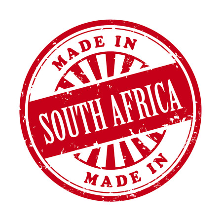 illustration of grunge rubber stamp with the text made in South Africa written inside Vector