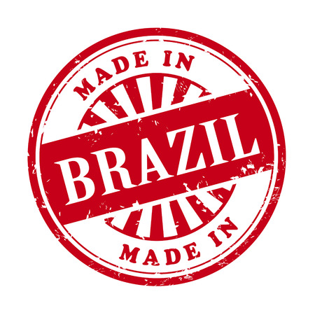 illustration of grunge rubber stamp with the text made in Brazil written inside Vector