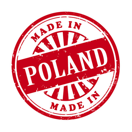 illustration of grunge rubber stamp with the text made in Poland written inside Vector