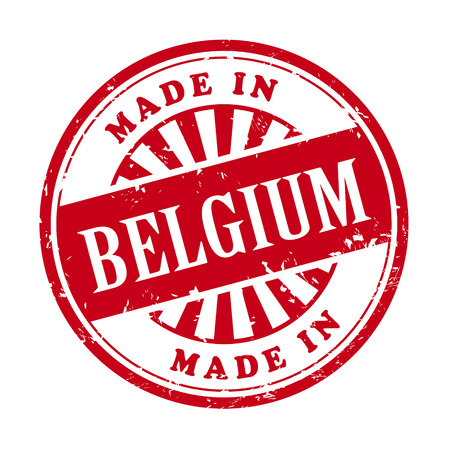 made in belgium: illustration of grunge rubber stamp with the text made in Belgium written inside