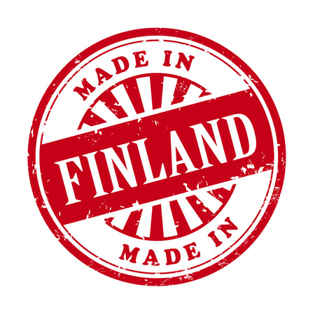 illustration of grunge rubber stamp with the text made in Finland written inside