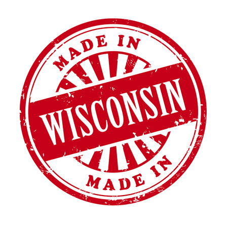 illustration of grunge rubber stamp with the text made in Wisconsin written inside Vector