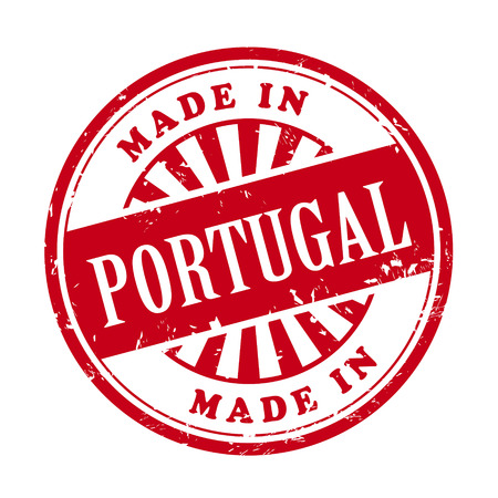 made in portugal: illustration of grunge rubber stamp with the text made in Portugal written inside