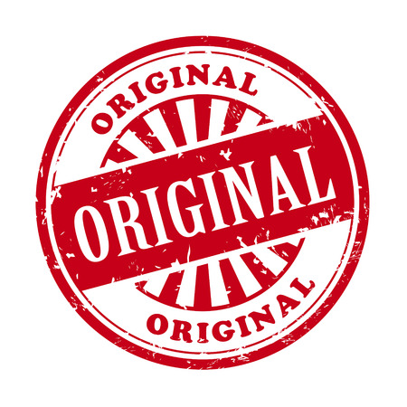 authenticity: illustration of grunge rubber stamp with the text original written inside Illustration