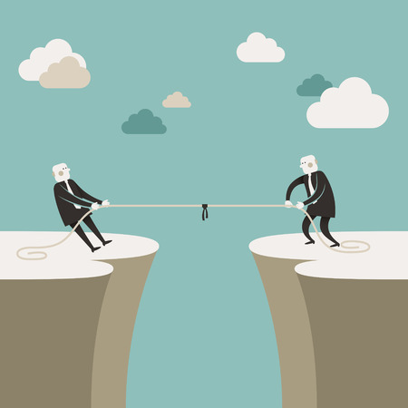 tug of war: flat design vector illustration concept of business race