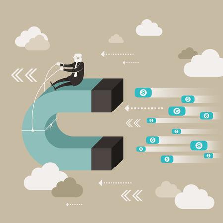 iman: ilustración vectorial diseño plano el concepto de ganar dinero extra Vectores