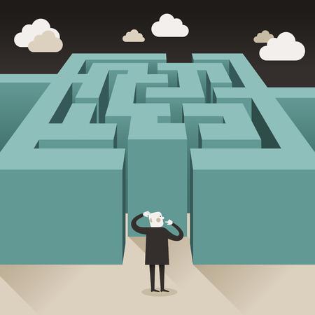 laberinto: ilustración diseño plano vector concepto de desafío