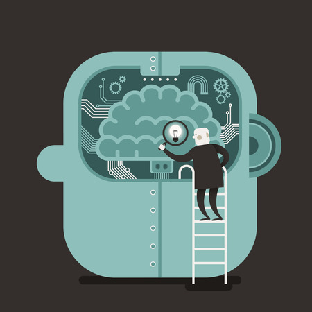 information medium: flat design vector illustration concept of brain searching Illustration