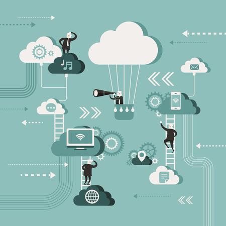 plat ontwerp vector illustratie concept van het verkennen cloud-netwerk