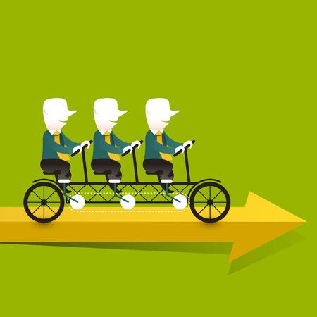 triplets: flat design vector illustration concept of cooperation triplets
