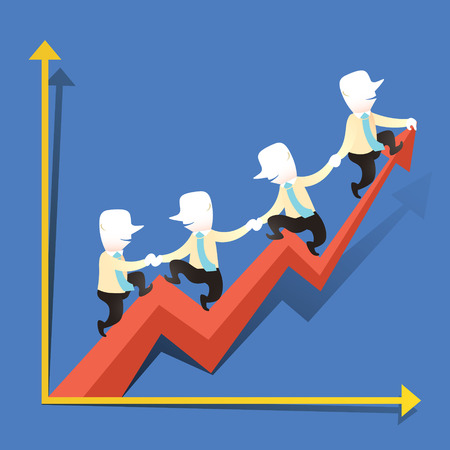 flat design vector illustration concept of cooperation performance growth Illustration